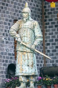 古代土家族武士铜像