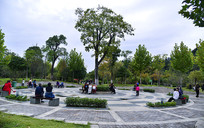 国庆节广场中休闲的人群