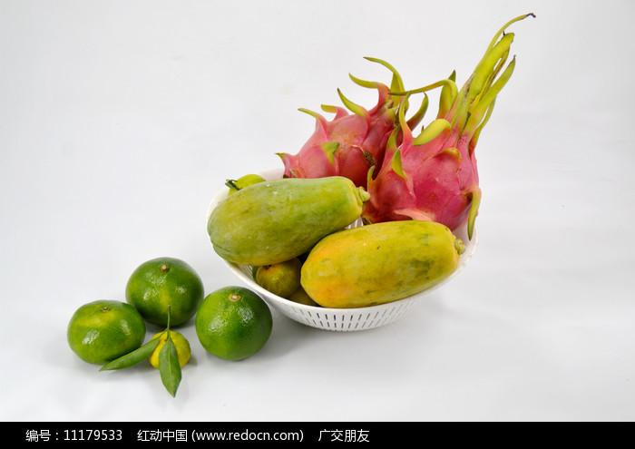 棚拍火龙果木瓜橘子图片