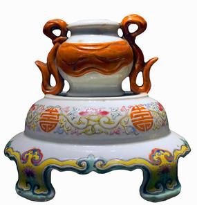 清末民初老物件-粉彩瓷烛台
