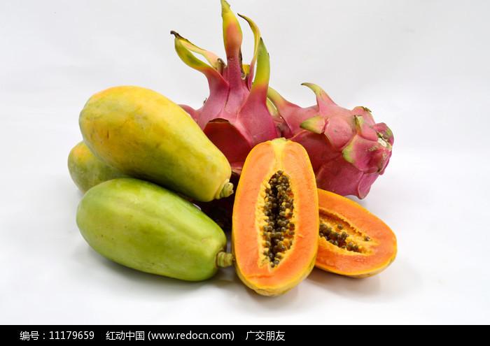 水果木瓜和火龙果图片图片