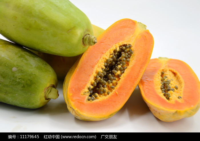 切开的木瓜特写图片图片