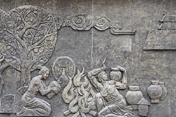 古代男女生活场景浮雕