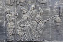 古代元宵节场景壁画