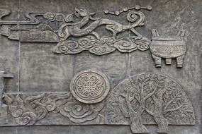 中國龍浮雕