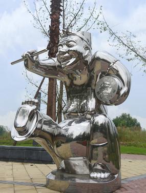 仿汉代说唱俑雕塑