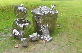 司马光砸缸传统文化雕塑