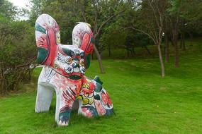 凤翔彩绘泥塑风格老虎雕塑