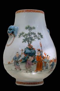 民国时期五彩婴戏纹兽耳瓶