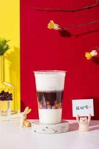 芝士红豆奶茶