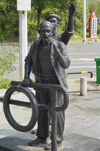 清末乘船出行的人雕塑