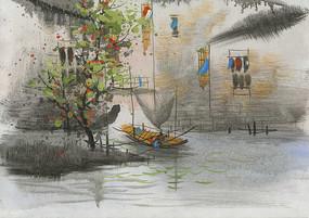 江南水乡水墨画