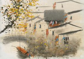 江南水乡意境壁画