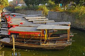 木渎古镇香溪河及乌篷船