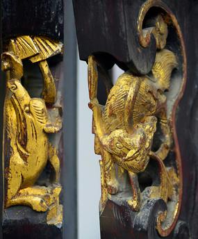 家具传统金漆木雕-老鼠和蝙蝠