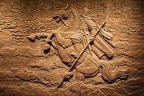 金戈铁马骑马将士岳飞浮雕
