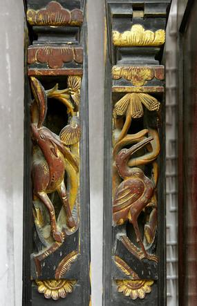 中式家具金漆木雕-梅花鹿和仙鹤
