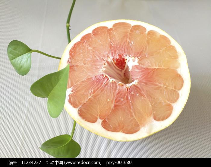 绿叶红心柚果图片
