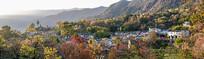 美丽的塔川秋色全景宽幅大图