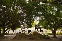 惠州南湖的广场及梅花鹿雕塑