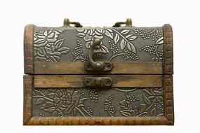 民国时期皮革贴面印花首饰盒