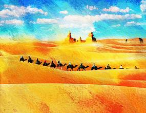 一带一路沙漠驼队装饰画