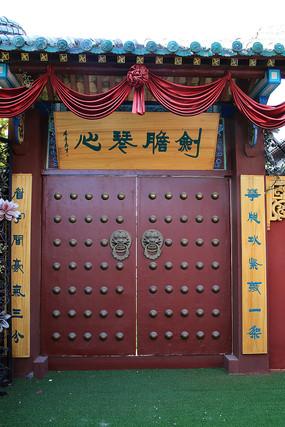 木对联传统中式大红门