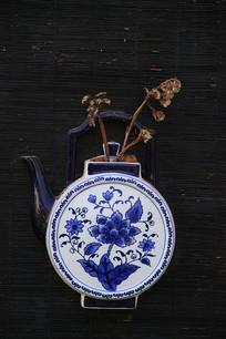 青花瓷壁壶插花提壶