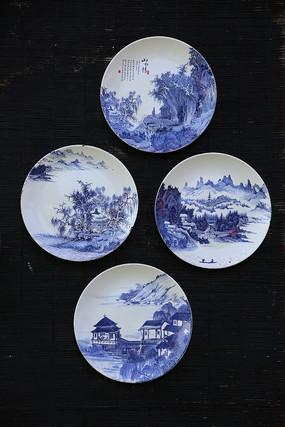 青花瓷磁盘壁画