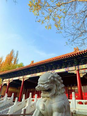古建筑前的石狮