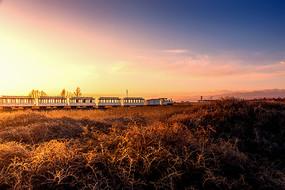 美丽的茶卡盐湖草原晨光