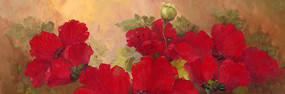 红色花卉装饰画