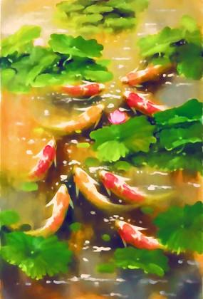 竖版九鱼图油画