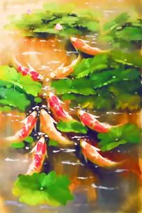 玄关九鱼图壁画