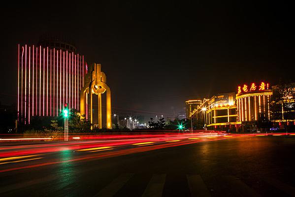 城市道路夜景-辉县共城之夜