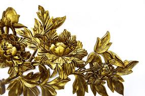 金色的牡丹花浮雕