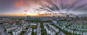鸟瞰银川城市日出风光宽幅大图