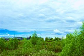 蓝天白云绿地