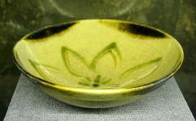 长沙铜官窑青釉褐绿彩花草碗