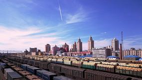 滿洲里藍天白云下的鐵路樞紐
