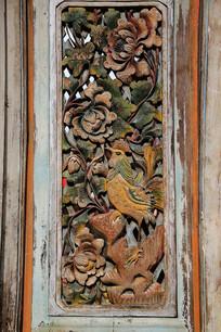 清代木雕门牡丹花鸟
