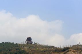成都丹景山高處的丹景閣仰拍