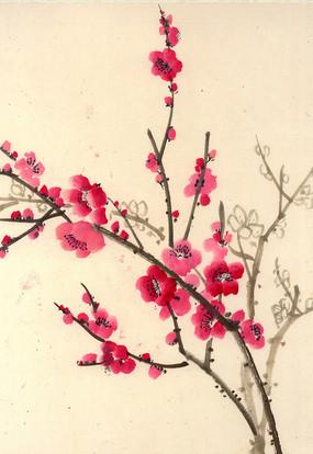 桃花水墨畫