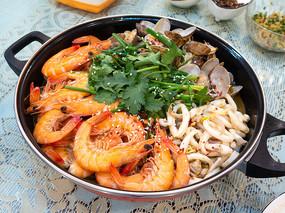 美味的海鲜火锅