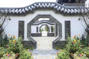 中式磚雕庭院設計實景圖