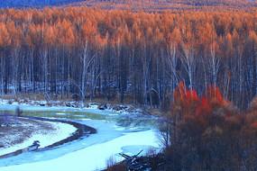 大兴安岭早春森林冰河风光