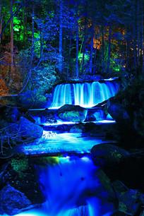 森林树丛小河灯光夜景