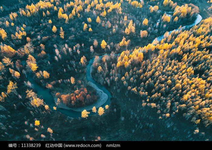 大兴安岭秋季河流秋色图片