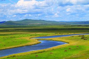 绿色山地牧场河流