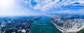 清遠清城藍天白云全景航拍鳥瞰圖